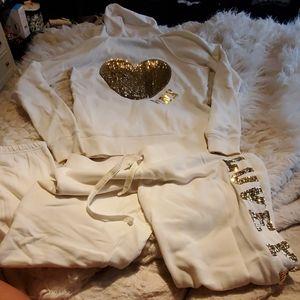 EUC Victoria's Secret PINK gold/cream sweatsuit